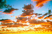 Fiery Sunset, Clouds, looking up, Beautiful Background