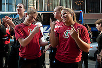 DENVER, CO--Teammates Toni Kokenis and Grace Mashore practice a band dance routine at the Brown Palace hotel before the semifinals of the 2012 NCAA Women's Final Four in Denver, CO.