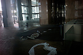 New York, New York.October 30, 2012..An office building in lower Manhattan damaged by water from Hurricane Sandy.