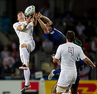 Rugby World Cup Auckland  England v France  Quarter Final 2 - 08/10/2011.Mark Cuerto (England) leaps for the ball.Photo Frey Fotosports International/AMN Images
