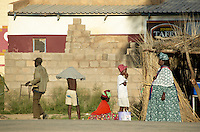 Namibia, 2004 - Street activity in Regional capitol of Opuwo in northern Namibia.