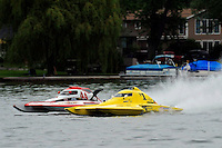 13-14 June, 2009, APBA Inboards, Walled Lake, Novi, MI. USA.Joe Sovie, Y-44, 1.5 Litre Mod hydroplane, Dan Kanfoush, Y-1, 1.5 Litre Mod hydroplane.©F. Peirce Williams 2009 USA.F.Peirce Williams.photography.ref: RAW (.NEF) File Available