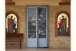 Travel stock photo of an Entrance into Archangelos Michail orthodox church in Parekklisia village near Limassol in Cyprus Horizontal