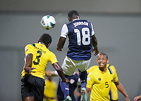 1Antigua and Barbuda, Friday, Oct 12, 2012: The USA Men's National Team vs Antigua and Barbuda in the first round of qualifying for the 2014 World Cup. Eddie Johnson scores on a header.