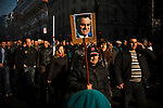 Tomislav Nikolic and the Serbian Progressive Party (SNS) stage an opposition rally in Belgrade on February 5, 2011. Pionirski Park in front of Parliament and the streets of central Belgrade. Nikolic poster.