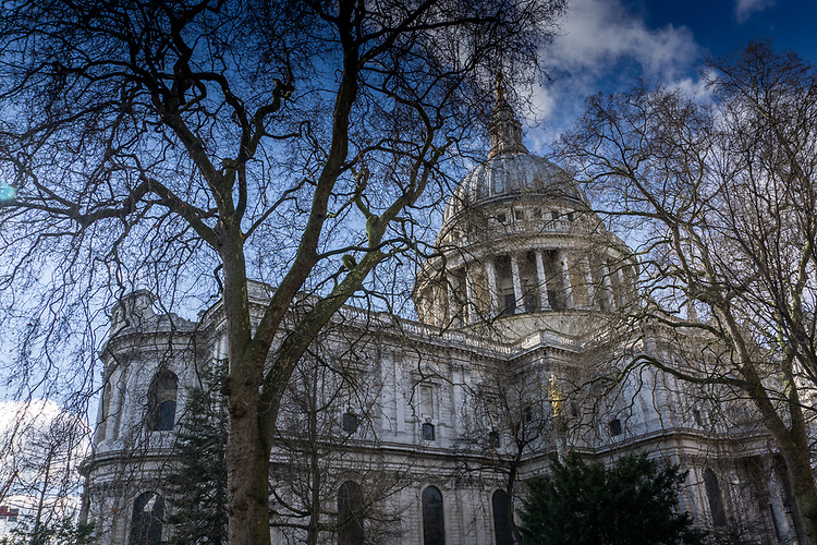 Low view looking up at St Pauls Cathedral in London England