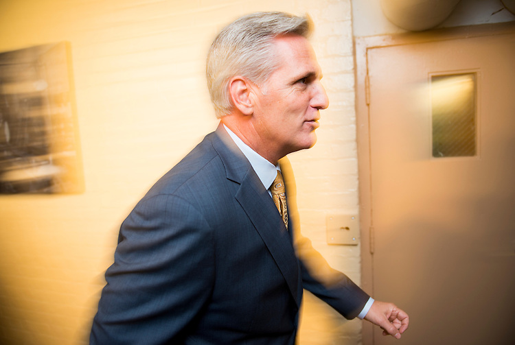 UNITED STATES - JULY 29: House Majority Leader elect Kevin McCarthy, R-Calif., walks past the cameras after the House Republican Conference meeting in the basement of the Capitol on Tuesday, July 29, 2014. (Photo By Bill Clark/CQ Roll Call)