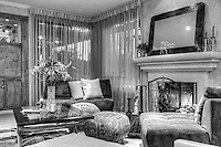 Interior Living Room Fireplace, Black/White, Tall Ceiling, Curtains .jpg