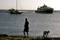 The Opale Express ferry arrives from Antigua in Port Little Bay on the northwestern tip of Montserrat. The port now serves as the main entry point to the island after the capital Plymouth was abandoned after the 1995 eruption of the Soufriere Hills volcano..v