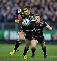 Matt Banahan of Bath Rugby in possession. European Rugby Champions Cup match, between Bath Rugby and Leinster Rugby on November 21, 2015 at the Recreation Ground in Bath, England. Photo by: Patrick Khachfe / Onside Images
