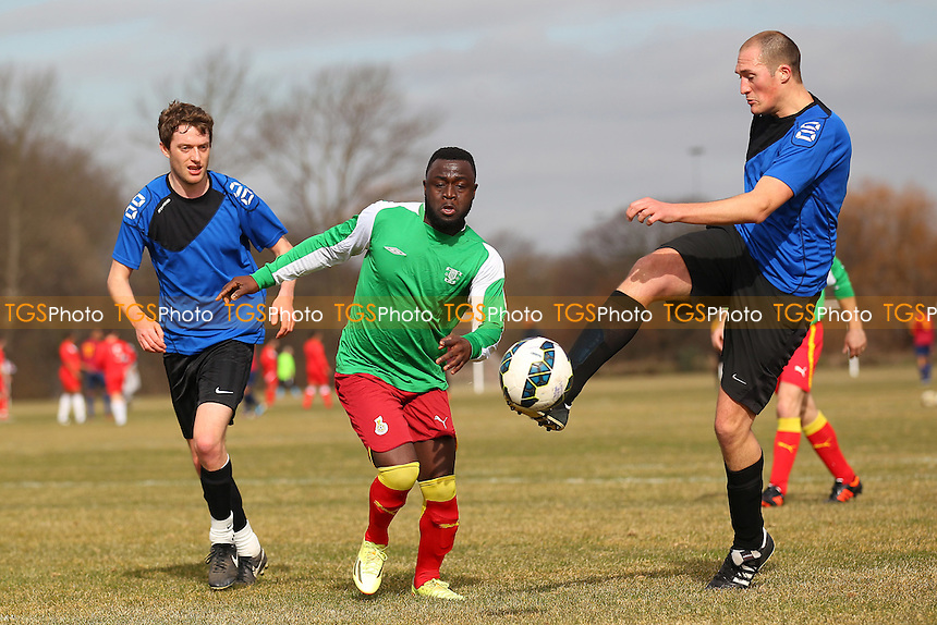 Waltham Forest United (blue) vs London Meteors - Hackney & Leyton Sunday League Jack Walpole Cup Football at East Marsh, Hackney Marshes, London - 08/03/15 - MANDATORY CREDIT: Gavin Ellis/TGSPHOTO - Self billing applies where appropriate - 0845 094 6026 - contact@tgsphoto.co.uk - NO UNPAID USE