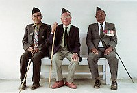 Veteran Ghurka soldiers with his war medals proudly displayed in Nepal