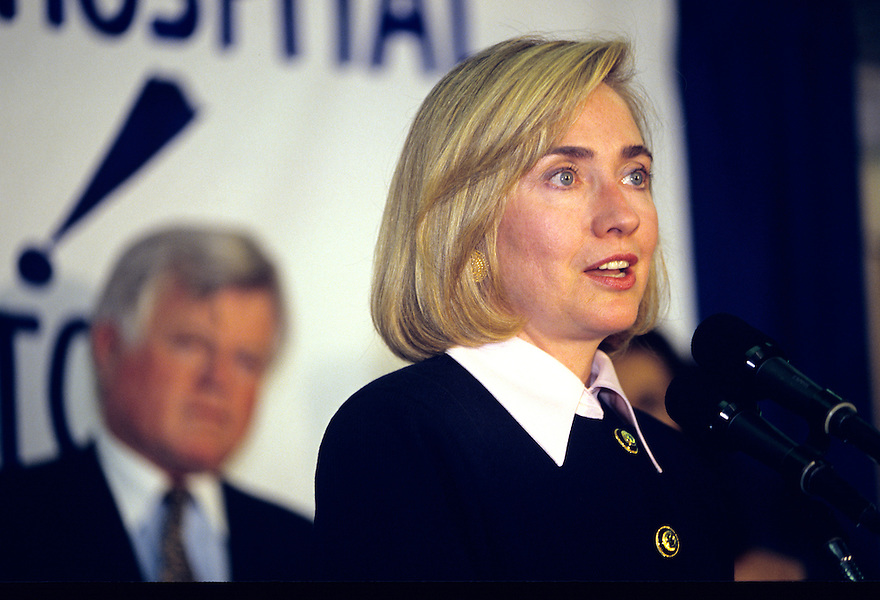 First Lady Hillary Clinton attends an event in support of health care reform at Children's Hospital in Boston with Senator Ted Kennedy.