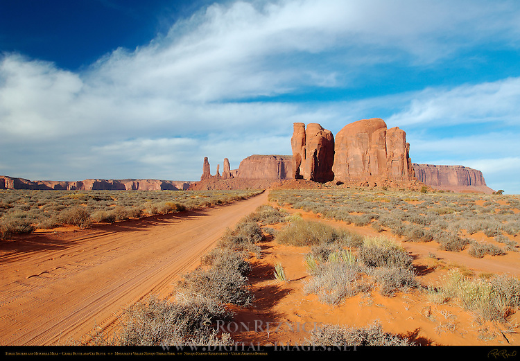Three Sisters and Mitchell Mesa, Camel Butte and Cly Butte, Loop Road, Monument Valley Navajo Tribal Park, Navajo Nation Reservation, Utah/Arizona Border