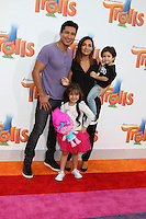 WESTWOOD, CA - OCTOBER 23: Mario Lopez, Gia Francesca Lopez, Courtney Laine Mazza, Dominic Lopez at the premiere Of 20th Century Fox's 'Trolls' at Regency Village Theatre on October 23, 2016 in Westwood, California. Credit: David Edwards/MediaPunch