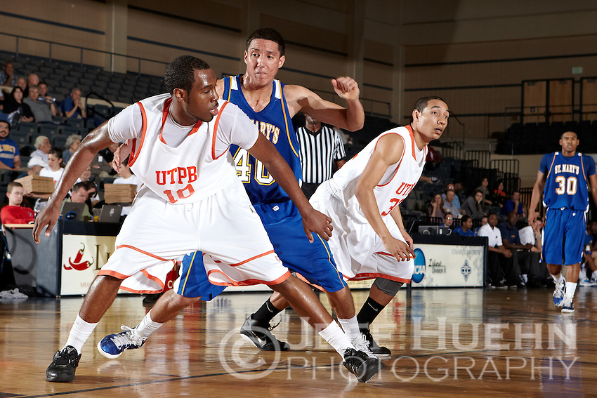 SAN ANTONIO, TX - MARCH 4, 2011: The 2011 Heartland Conference Basketball Tournament Men's Semi-Final #1 featuring the #1 seed University of Texas of the Permain Basin Falcons vs. the #4 seed St. Mary's University Rattlers at the Bill Greehey Arena on the campus of St. Mary's University. (Photo by Jeff Huehn)