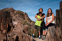 Susan gets a good workout keeping up with her son Ethan, 9 and exchange-student Lea, 16 on a hike at Piestewa Peak on a Sunday afternoon.