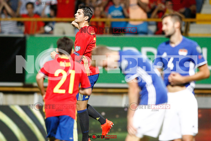 Spain's Alvaro Morata celebrates goal during FIFA World Cup 2018 Qualifying Round match. September 5,2016.(ALTERPHOTOS/Acero) /NORTEPHOTO