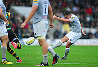 George Ford of Bath Rugby attempts a drop goal. Aviva Premiership match, between Northampton Saints and Bath Rugby on September 3, 2016 at Franklin's Gardens in Northampton, England. Photo by: Patrick Khachfe / Onside Images