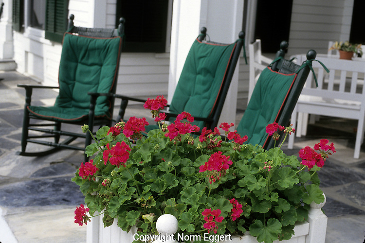 Three Rocking Chairs on the porch of the Equinox Hotel in Manchester Village, Vermont