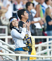 A Real Madrid / LA Galaxy fan during the first half of the friendly game between LA Galaxy and Real Madrid at the Rose Bowl in Pasadena, CA, on August 7, 2010. LA Galaxy 2, Real Madrid 3.
