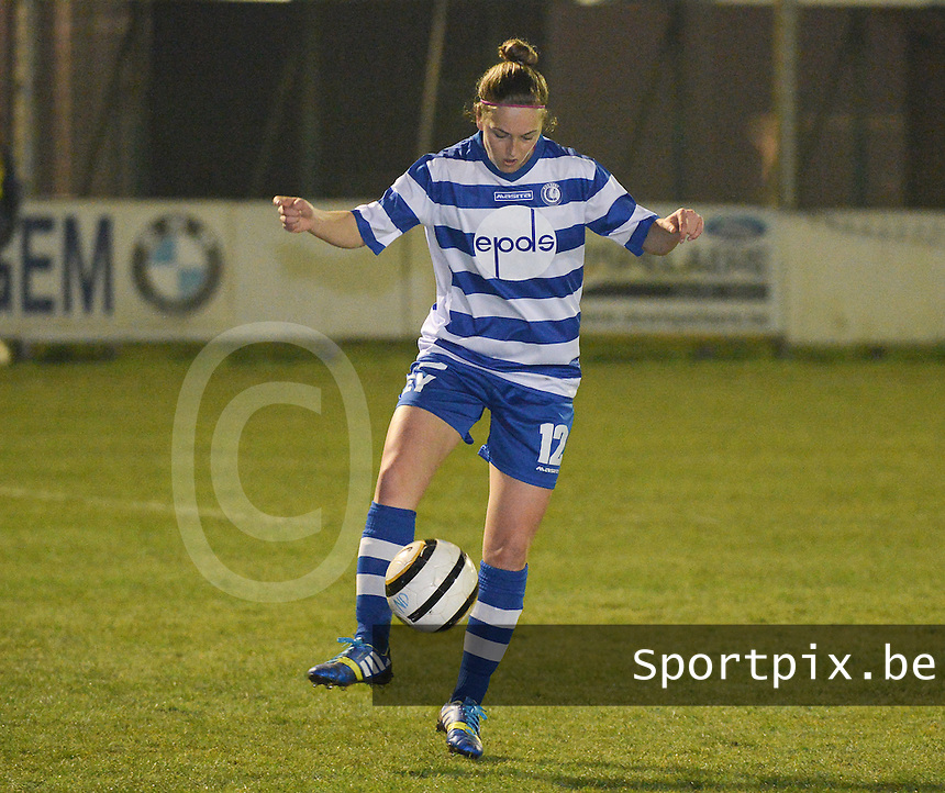 20140326 - AALTER , BELGIUM : Gent Pauline Windels pictured during the soccer match between the women teams of Club Brugge Vrouwen  and AA Gent  Ladies , on the 21th matchday of the BeNeleague competition Friday 14 March 2014 in Aalter. PHOTO DAVID CATRY