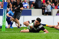 Patelesio Tomkinson of New Zealand U20 scores a try in the second half. World Rugby U20 Championship 5th Place Play-Off between Australia U20 and New Zealand U20 on June 25, 2016 at the AJ Bell Stadium in Manchester, England. Photo by: Patrick Khachfe / Onside Images