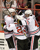 Adam Reid (NU - 8), Colton Saucerman (NU - 23), Ludwig Karlsson (NU - 45) - The Northeastern University Huskies defeated the visiting Merrimack College Warriors 4-2 (EN) on Wednesday, October 10, 2012, at Matthews Arena in Boston, Massachusetts.