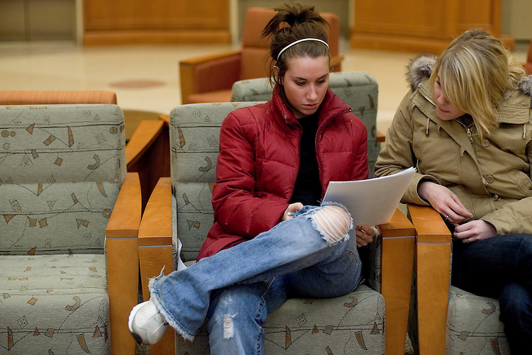 Andrea Valent (left) and Alyssa Wood study together in the ground floor of Baker Center on Thursday, 2/22/07.