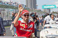 March 20, 2016: Sebastian Vettel (DEU) #5 from the Scuderia Ferrari team at the drivers' parade prior to the 2016 Australian Formula One Grand Prix at Albert Park, Melbourne, Australia. Photo Sydney Low
