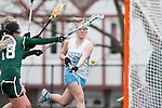 20110405 - Medford/Somerville, Mass. -  Tufts attack Kelly Hyland (A12) fires a shot against Babson at Bello Field on April 5, 2011. (Kelvin Ma/Tufts University)