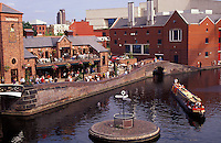 England. Birmingham.  Urban renewal.  Canal basin and canal side warehouses converted to recreational use have brought life back to the centre of a city in Britain's decaying manufacturing heartland.  Imaginative use has been made of an otherwise redundant infrastructure