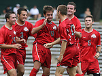 Ohio State's Doug Verhoff (15) is congratulated by teammates (from left) Andrew Magill, Xavier Balc, Taylor Korpieski, Dustin Kirby, and Brent Rohrer after scoring a goal less than two minutes into the game on Sunday September 3rd, 2006 at Fetzer Field on the campus of the University of North Carolina Chapel Hill in Chapel Hill, North Carolina. The Wake Forest University Demon Deacons defeated the Ohio State University Buckeyes 3-2 after overtime in an NCAA Division I Men's Soccer game.