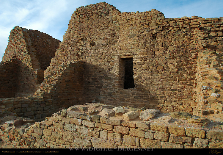 Structural Detail, West Ruin Anasazi Hisatsinom Chacoan Complex, Aztec Ruins National Monument, Aztec, New Mexico