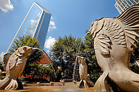 Fish Fountain, one of many public art pieces in The Green in downtown Charlotte. The Green, located at 435 South Tryon St., is a popular urban park in the heart of Charlotte, NC.
