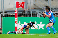 Kelly Smith of Great Britain scores a try. FISU World University Championship Rugby Sevens Women's 5th/6th place match between Great Britain and Italy on July 9, 2016 at the Swansea University International Sports Village in Swansea, Wales. Photo by: Patrick Khachfe / Onside Images