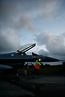 Lockheed Martin F-16 Fighting Falcon from Norwegian Air Force 338 squadron being inspected after flight. BOLD AVENGER 2007 (BAR 07), a NATO  air exercise at Ørland Main Air Station, Norway. BAR 07 involved air forces from 13 NATO member nations: Belgium, Canada, the Czech Republic, France, Germany, Greece, Norway, Poland, Romania, Spain, Turkey, the United Kingdom and the United States of America. The exercise was designed to provide training for units in tactical air operations, involving over 100 aircraft, including combat, tanker and airborne early warning aircraft and about 1,450 personnel.