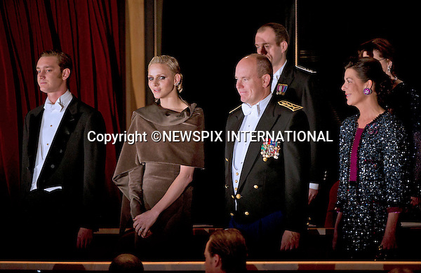 """PRINCE ALBERT AND PRINCESS CHARLENE .together with other members of the Monaco Royal Family attend the Soiree de Gala at the Grimaldi Forum on the occasion of the National Day, Monte Carlo, Monaco_19/11/2011.Mandatory Credit Photos: ©NEWSPIX INTERNATIONAL..**ALL FEES PAYABLE TO: """"NEWSPIX INTERNATIONAL""""**..PHOTO CREDIT MANDATORY!!: NEWSPIX INTERNATIONAL(Failure to credit will incur a surcharge of 100% of reproduction fees)..IMMEDIATE CONFIRMATION OF USAGE REQUIRED:.Newspix International, 31 Chinnery Hill, Bishop's Stortford, ENGLAND CM23 3PS.Tel:+441279 324672  ; Fax: +441279656877.Mobile:  0777568 1153.e-mail: info@newspixinternational.co.uk"""