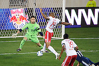 Vancouver Whitecaps goalkeeper Joe Cannon (1) denies Thierry Henry (14) of the New York Red Bulls during a Major League Soccer (MLS) match at Red Bull Arena in Harrison, NJ, on September 10, 2011.