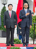 United States President Barack Obama welcomes President XI Jinping  of China during an official State Arrival ceremony on the South Lawn of the White House in Washington, DC on Friday, September 25, 2015.<br /> Credit: Ron Sachs / CNP
