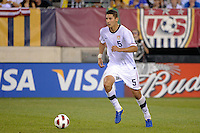 Omar Gonzalez (5) of the United States. The men's national team of Brazil (BRA) defeated the United States (USA) 2-0 during an international friendly at the New Meadowlands Stadium in East Rutherford, NJ, on August 10, 2010.