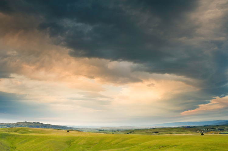 Photo of stormy clouds brewing over Manuherikia Valley, Central Otago New Zealand.  Available as fine art print or canvas print