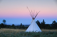 Native Americans, Tipi Camp of Charly Juchler, Black Hills, (Lakota tribe), South Dakota, USA