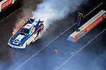 Jan. 20, 2012; Jupiter, FL, USA: Aerial view of NHRA funny car driver Tim Wilkerson during testing at the PRO Winter Warmup at Palm Beach International Raceway. Mandatory Credit: Mark J. Rebilas-