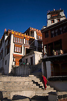Tibetan Buddhist monks go about their daily lives in the Diskit Monastery, Nubra Valley, Ladakh on 4th June 2009. Diskit, established in the early 15th century,  is located about 150km from Leh, in the Nubra valley where temperatures can drop to way below -40C in the winter time.  Photo by Suzanne Lee
