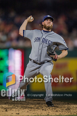 22 July 2016: San Diego Padres pitcher Brandon Maurer on the mound against the Washington Nationals at Nationals Park in Washington, DC. The Padres defeated the Nationals 5-3 to take the first game of their 3-game, weekend series. Mandatory Credit: Ed Wolfstein Photo *** RAW (NEF) Image File Available ***