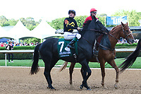 HOT SPRINGS, AR - April 15: Sonneteer #7 and jockey Kent Desormeaux in the post parade prior to the Arkansas Derby at Oaklawn Park on April 15, 2017 in Hot Springs, AR. (Photo by Ciara Bowen/Eclipse Sportswire/Getty Images)