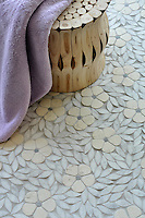 Jacqueline, a natural stone waterjet mosaic shown in tumbled Bianco Antico, Blue Macauba, and Carrara, is part of the Silk Road Collection by Sara Baldwin for New Ravenna Mosaics.