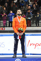 SHORT TRACK: TORINO: 15-01-2017, Palavela, ISU European Short Track Speed Skating Championships, Podium Overall Men, Sjinkie Knegt (NED), ©photo Martin de Jong