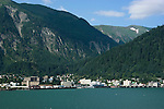 Alaska, Juneau: View of Juneau from Homestead Park in Douglas. .Photo #: alaska10282 .Photo copyright Lee Foster, 510/549-2202, lee@fostertravel.com, www.fostertravel.com..